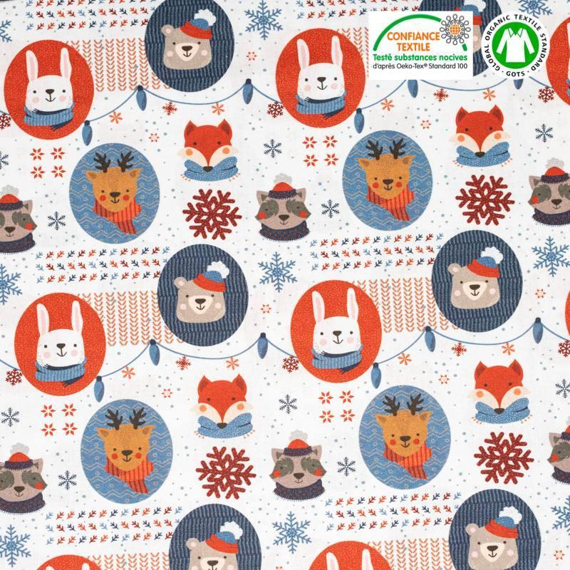 Coton bio blanc motif animaux et flocons Oeko-tex