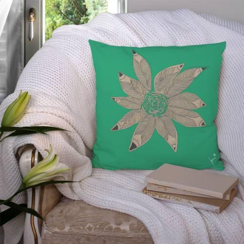 Coupon velours ras vert motif rosace de plumes - Création Jeanne Garreau