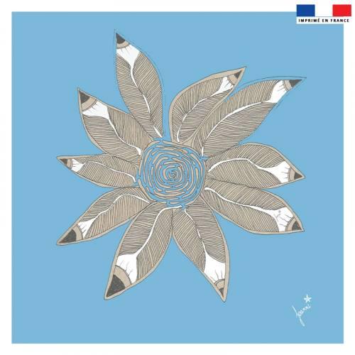 Coupon velours ras bleu motif rosace de plumes - Création Jeanne Garreau