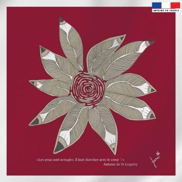 Coupon velours ras rouge motif rosace de plumes - Création Jeanne Garreau