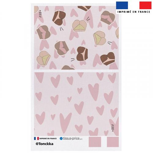 Kit pochette rose motif Love Yourself - Création by Tonckka