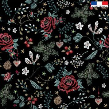 Velours ras noir imprimé fleur d'hiver