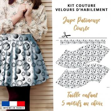 Kit Jupe Patineuse à Coudre - Collection Noël Enfant - Velours d'habillement