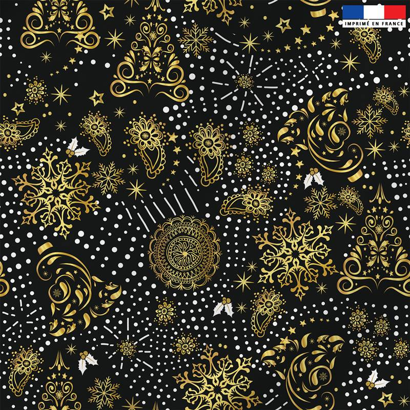 Tissu microfibre noir motif sapin cachemire gold