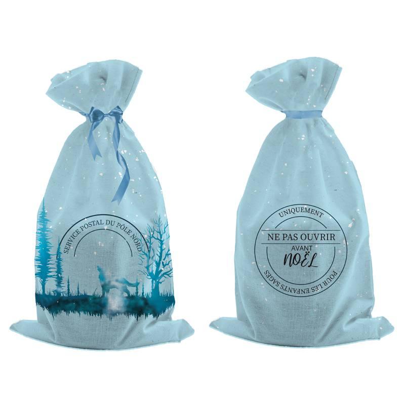 Kit hotte de Noel bleu motif Service postal du Pôle Nord