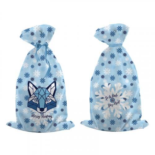Kit hotte de Noel bleu motif loup