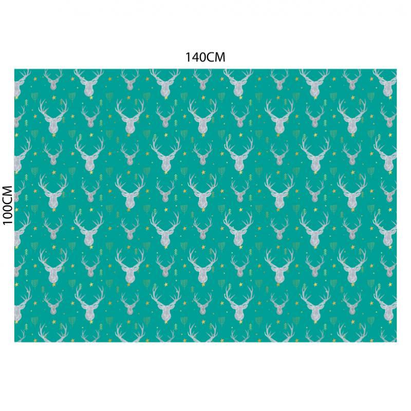 Velours ras vert motif cerf origami