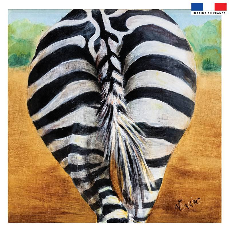 Coupon 45x45 cm motif zèbre - Création Véronique Baccino