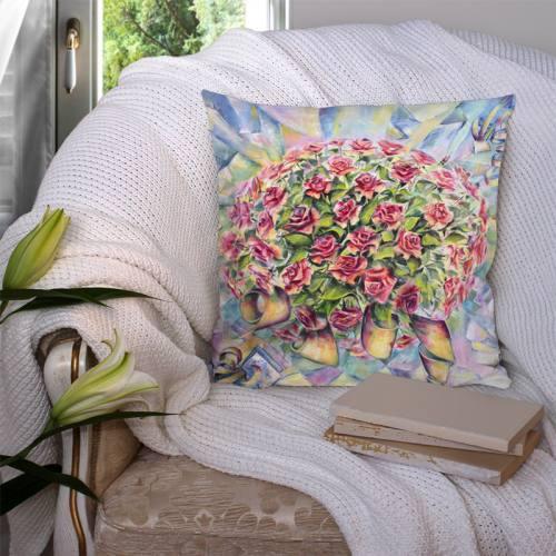 Coupon 45x45 cm motif bouquet de pivoines - Création Véronique Baccino