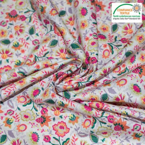 Popeline de coton écrue motif fleur de cachemire lilas Oeko-tex