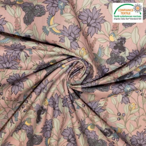 Popeline de coton rose motif fleur violette et oiseau Oeko-tex