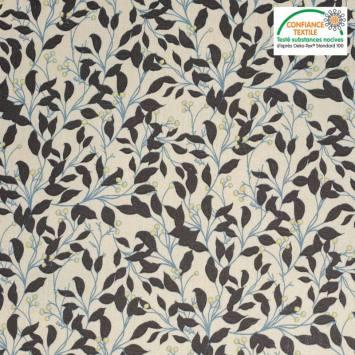 Popeline de coton lin motif feuilles d'olivier Oeko-tex