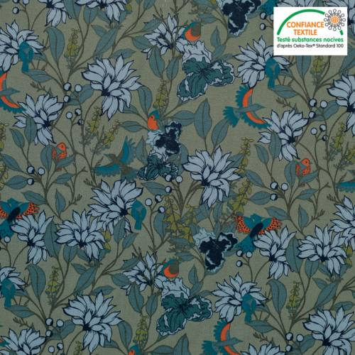 Popeline de coton vert motif fleur bleue et oiseau Oeko-tex