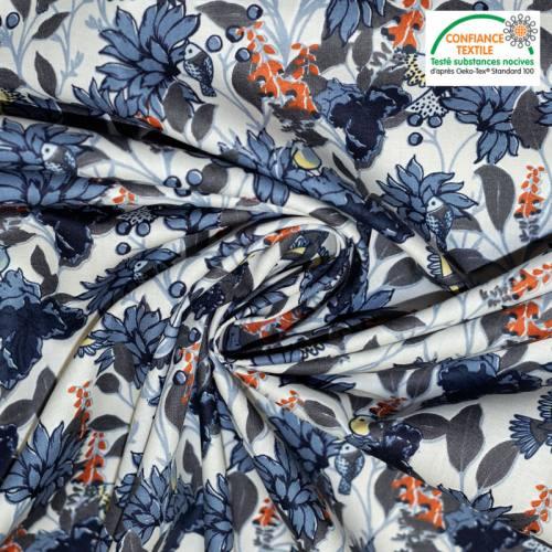 Popeline de coton lin motif fleur bleue et oiseau Oeko-tex