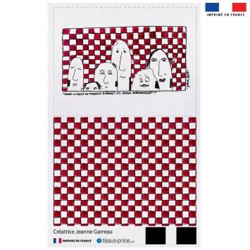 Kit pochette canvas motif tribu fond à carreaux - Création Jeanne Garreau