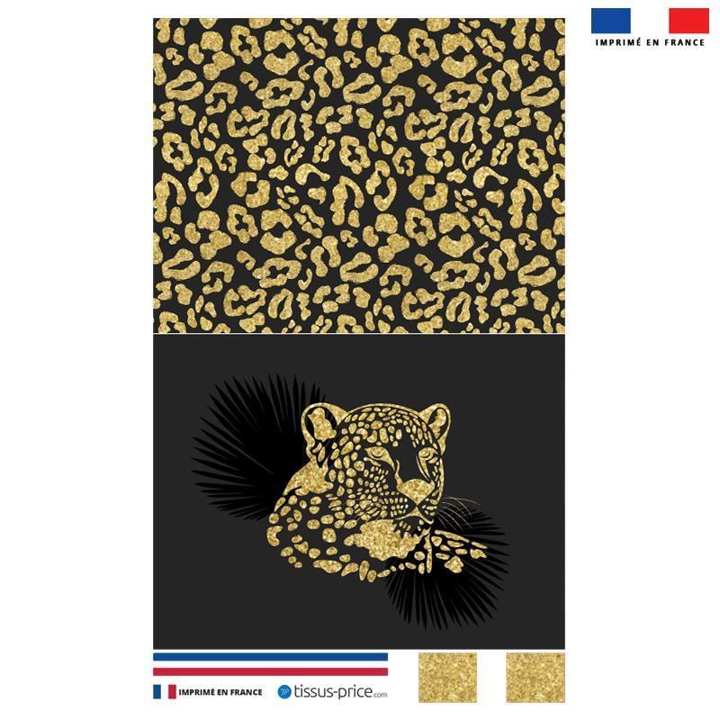 Kit pochette noire motif léopard gold