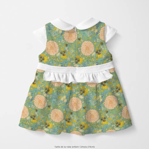 Coton vert motif feuille d'automne Oeko-tex