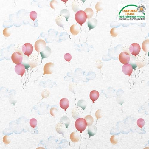 Coton blanc motif nuage et ballons Oeko-tex