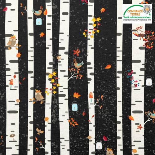 Coton noir motif automne bouleau et hibou Oeko-tex