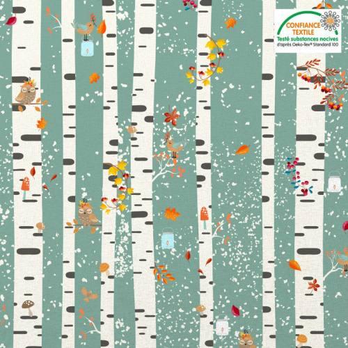 Coton vert motif automne bouleau et hibou Oeko-tex