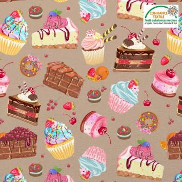 Coton marron clair motif gâteaux Oeko-tex