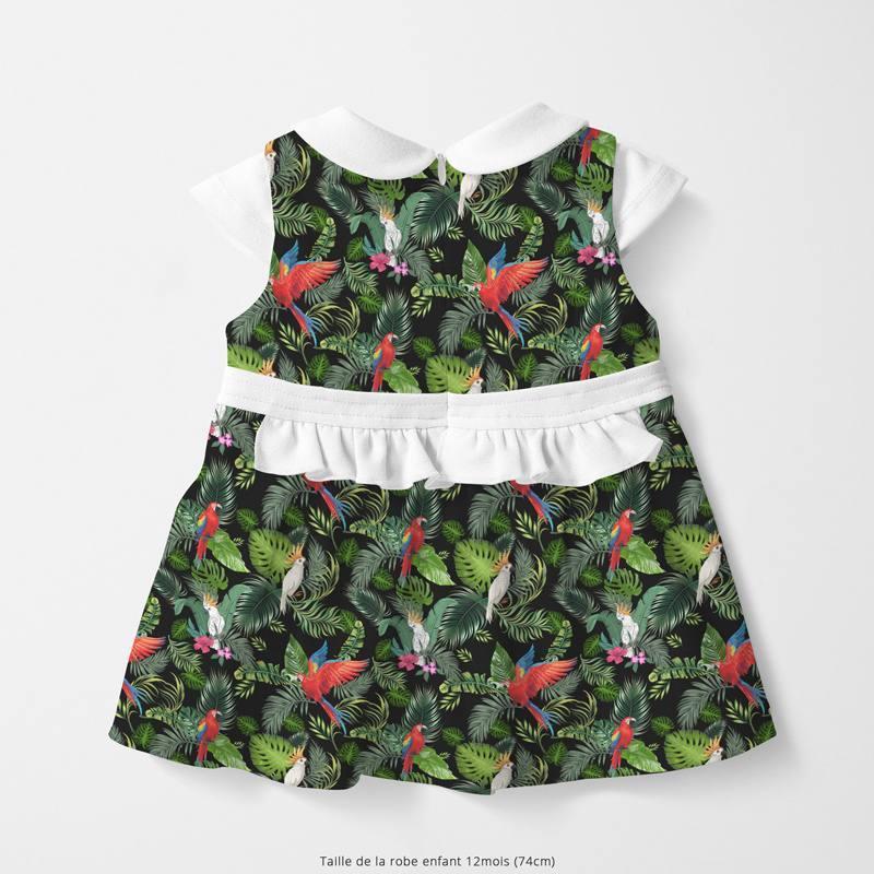 Coton noir motif feuille tropicale et perroquet Oeko-tex