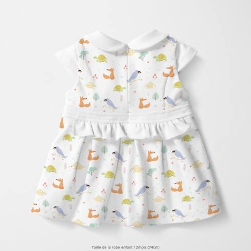 Coton blanc motif tortue renard lapin et oiseau Oeko-tex