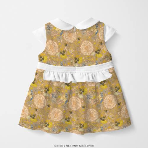 Coton sable motif feuille d'automne Oeko-tex