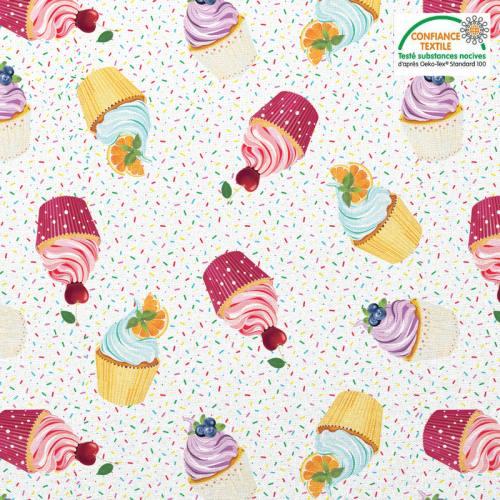 Coton blanc motif cupcake et vermicelle en sucre Oeko-tex