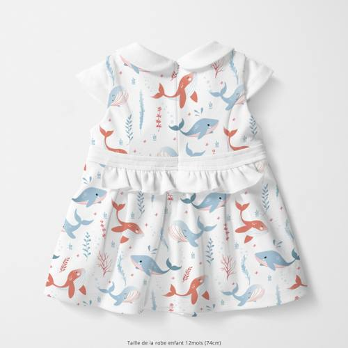 Coton blanc motif baleine bleue et rouge Oeko-tex