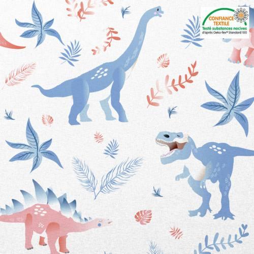 Coton blanc motif dinosaure et feuilles Oeko-tex