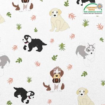 Coton blanc motif chien Oeko-tex