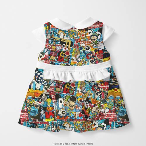 Coton multicolore motif patchwork pop culture - Création Anne-Sophie Dozoul