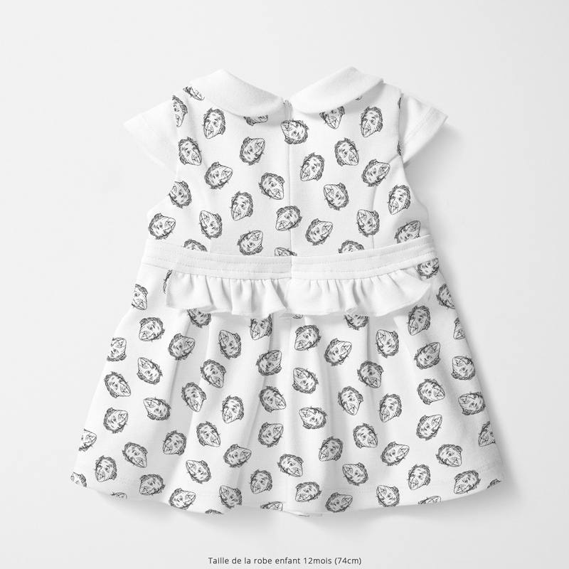 Coton blanc motif einstein Oeko-tex