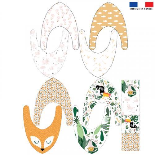 Coupon éponge bavoirs bandana motif singe lapin toucan et feuille