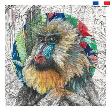 Coupon 45x45 cm motif singe - Création Lou Picault