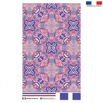 Kit pochette rose motif zébrures symétriques roses - Création Lou Picault