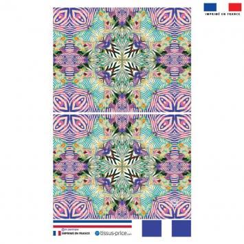 Kit pochette rose motif zébrures symétriques vertes - Création Lou Picault