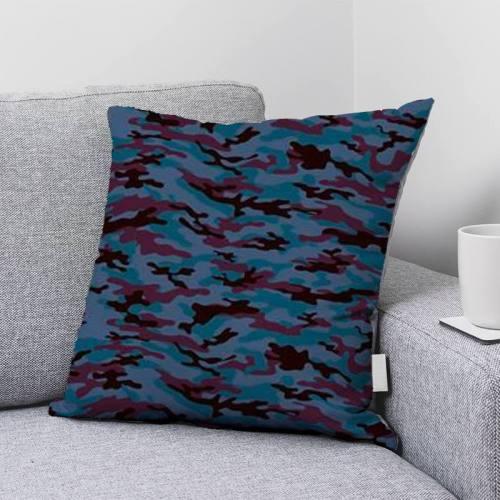 Camouflage bordeaux et noir - Fond bleu turquin