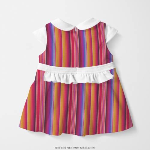 Coton multicolore motif mexicain rayé Oeko-tex