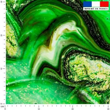 Magma vert et poudre d'or - Fond noir