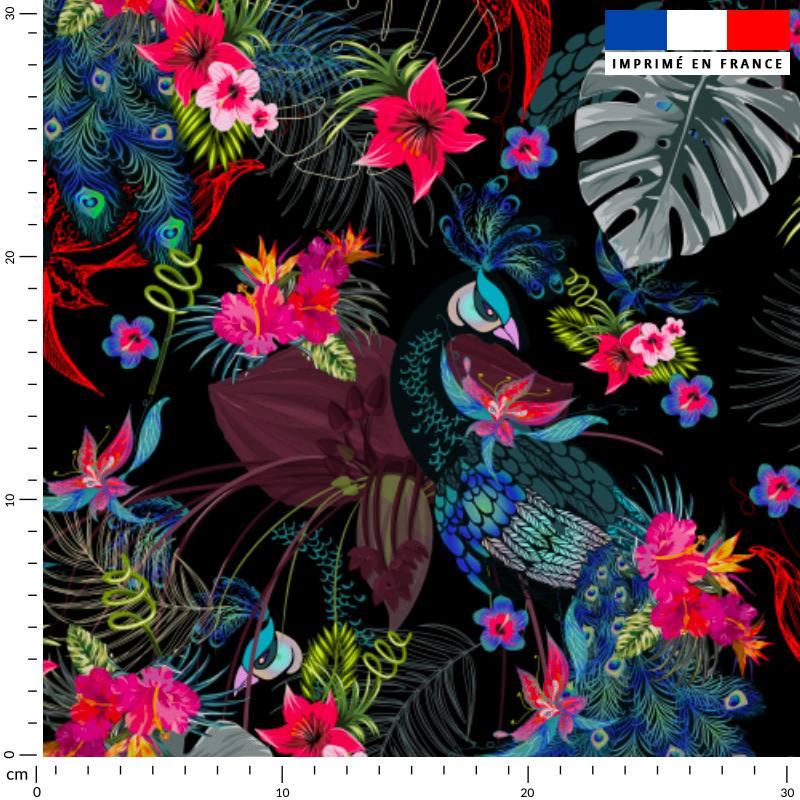 Paon fleuri rose - Fond noir