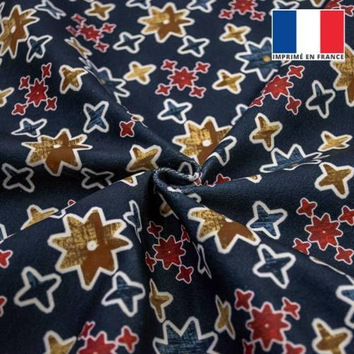Etoile géométrique jaune rouge et bleu - Fond bleu foncé