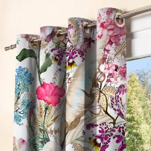 Grosses fleurs palmes et papillons - Fond écru