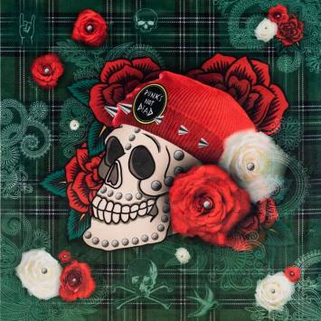 Carré 45x45.5 cm - Velours tartan vert motif tête de mort et rose rouge