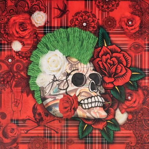 Carré 45x45.5 cm - Velours tartan rouge motif tête de mort punk