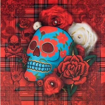 Carré 45x45.5 cm - Velours tartan rouge motif tête de mort mexicaine bleue