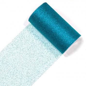 Bobine de ruban de tulle paillettes bleu