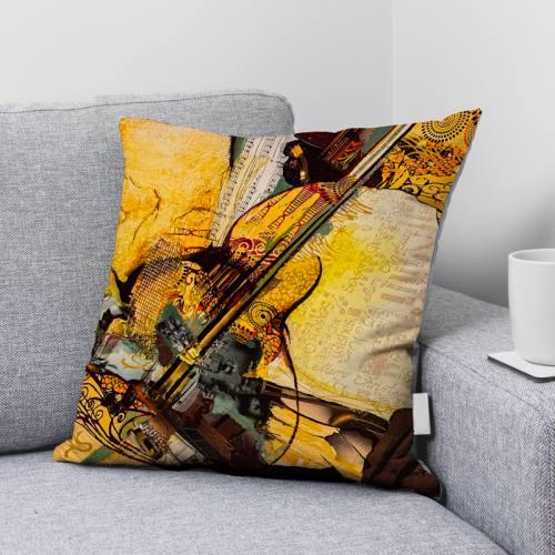 Coupon 45x45 cm motif Solo de mandoline - Création Monique.D