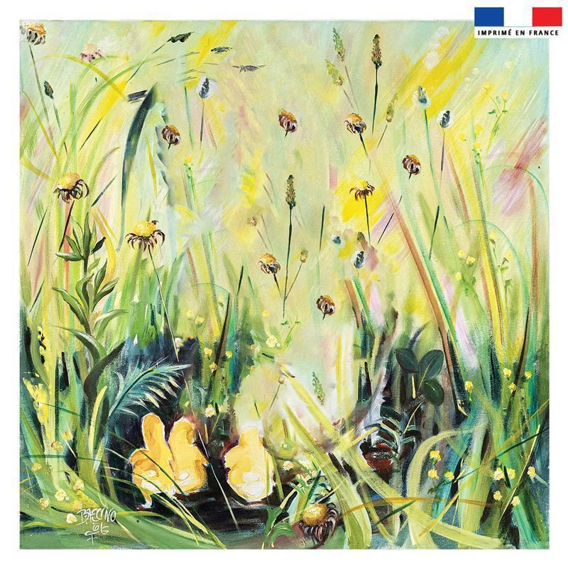 Coupon 45x45 cm motif jardin fleuri - Création Véronique Baccino